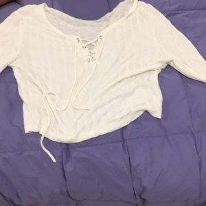 Charlotte Russe white tie up crop top